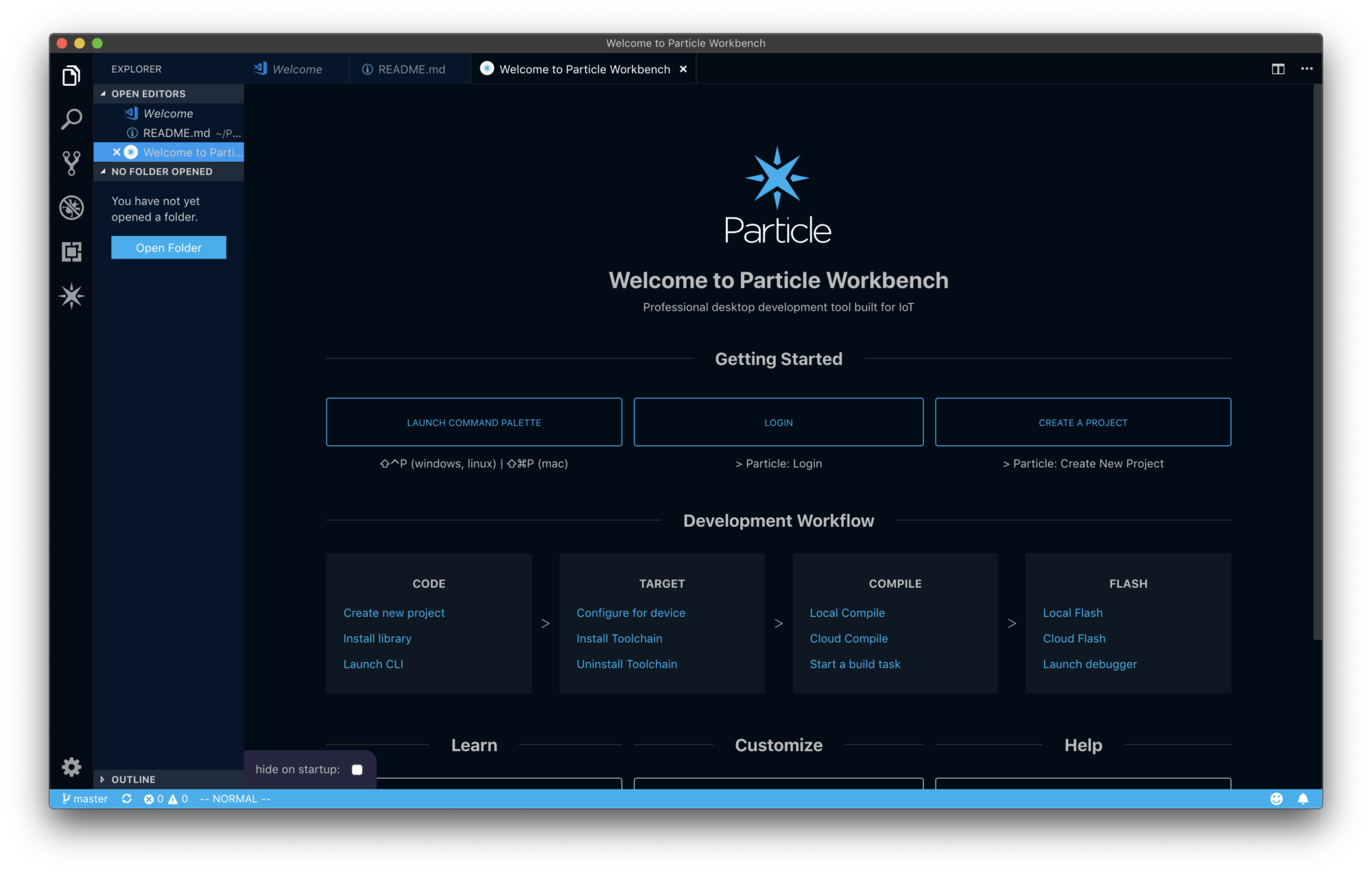 Image of the Particle Workbench welcome screen.