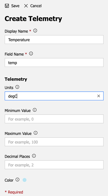 Image of creating a single telemetry field