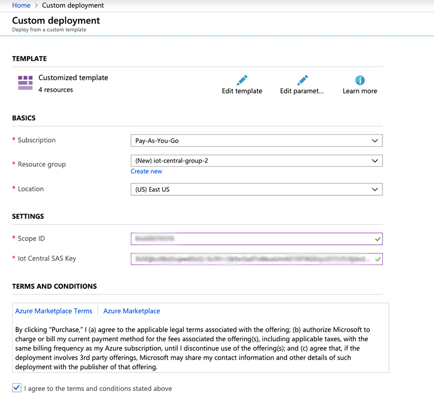 Image of template configuration for the Azure device bridge